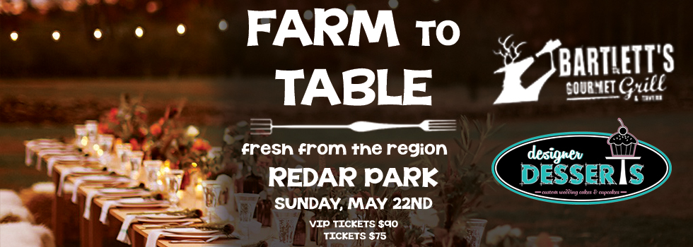 "Advertisement for ""Farm to Table"" event, includes names of sponsors."