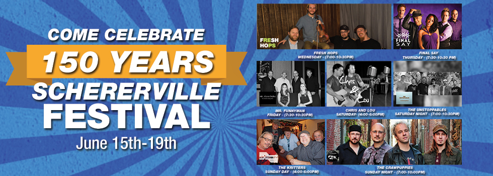 Advertisement for Celebrate Schererville Festival displaying the music acts that will be there