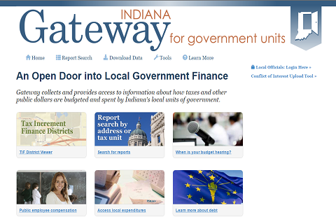 Screenshot of the homepage of the Indiana Gateway for Government Units website