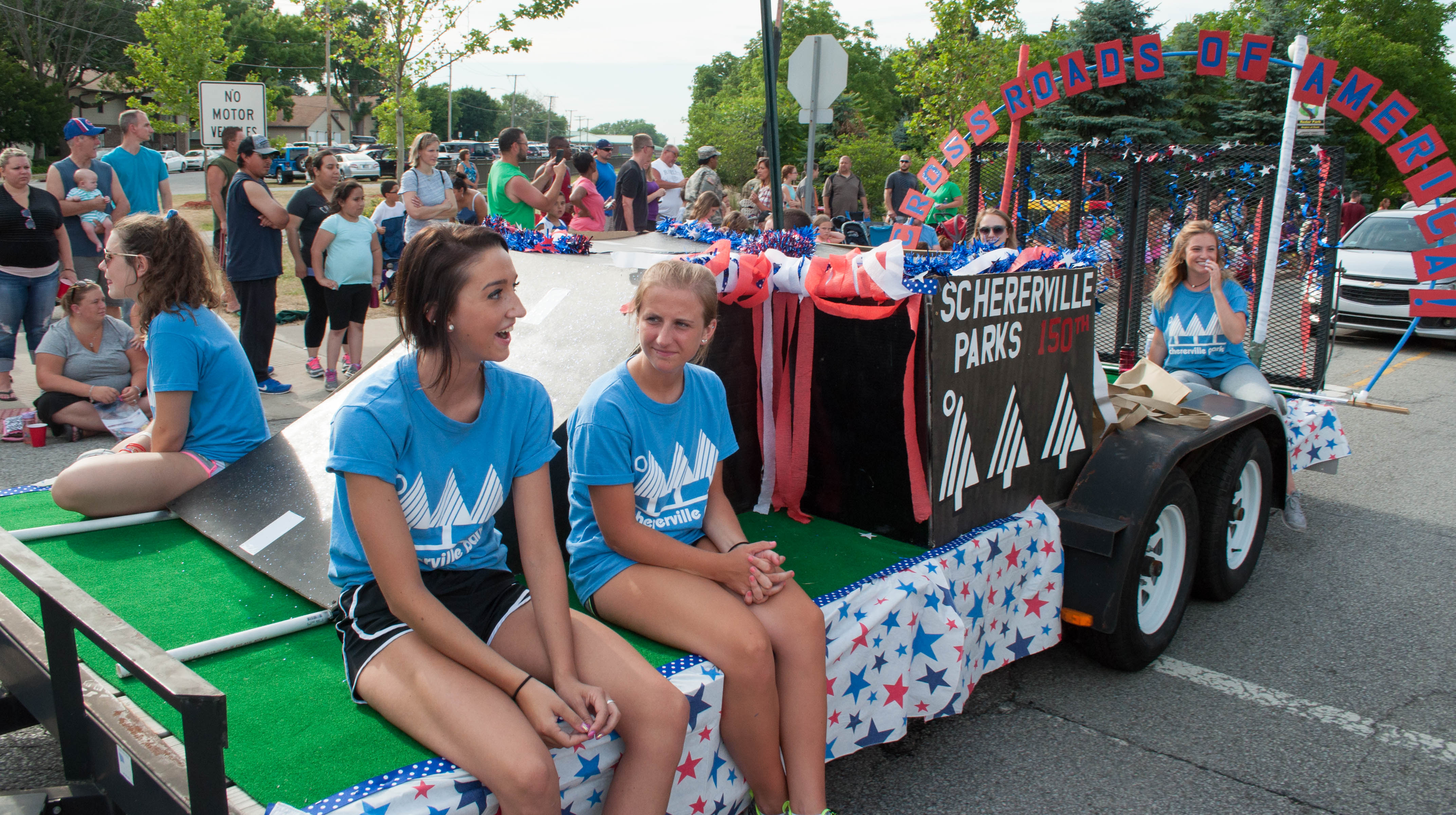 Schererville Parks Department members with their float during the Celebrate Schererville Parade