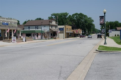 Downtown Joliet Street, looking west, from the front of the Schererville PD