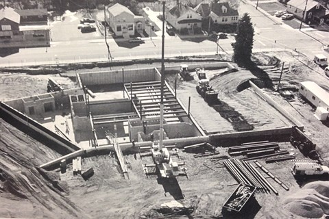 A view from up high in a helicopter of the construction site of the Schererville Town Hall in 2001.