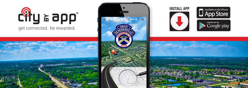 Image advertising the CityByApp phone app for Schererville