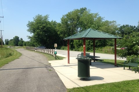 On the Lackawanna Trail, looking at a rest pavilion that sits next to the trail