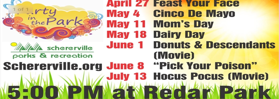 "A list of the upcoming ""Party in the Park"" events at Redar Park"